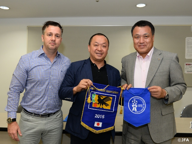 Guam football president Lai and coach White visit JFA House, look to give impact in Asian World Cup qualifying