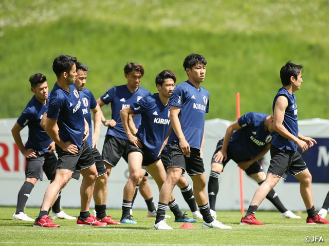 SAMURAI BLUE (Japan National Team) trains behind closed doors ahead of Paraguay match