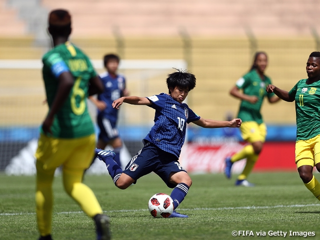 U-17 Japan Women's National Team scores 6 goals in victory over South Africa at FIFA U-17 Women's World Cup Uruguay 2018