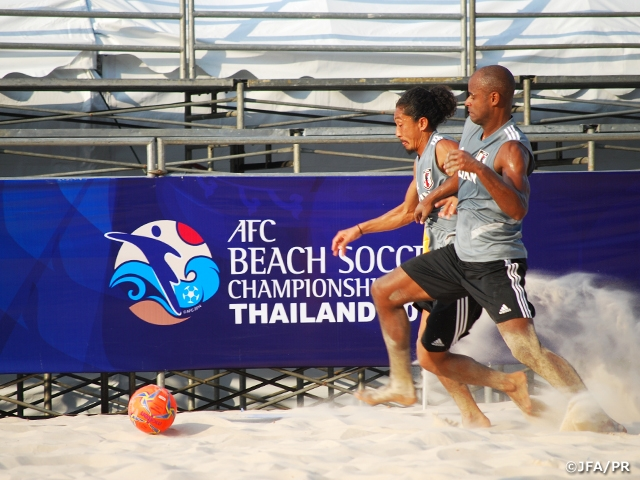 Japan Beach Soccer National Team plays training match against Thailand simulating the upcoming AFC Beach Soccer Championship
