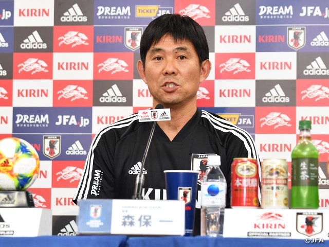 "Coach Moriyasu of SAMURAI BLUE hopes to ""Deepen understandings of team strategy"" in match against Paraguay at the KIRIN CHALLENGE CUP 2019"