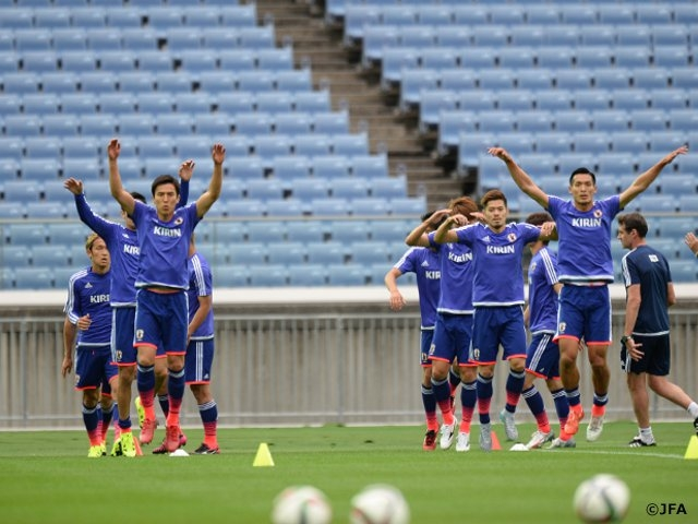 SAMURAI BLUE had a closed-door training session for the match against Iraq