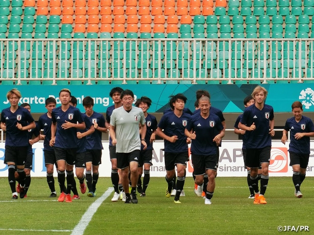 U-21 Japan National Team holds official training session ahead of Quarter-final match at the 18th Asian Games 2018 Jakarta Palembang