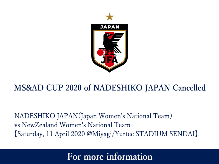 MS&AD CUP 2020 (International Friendly Match) of Nadeshiko Japan Cancelled