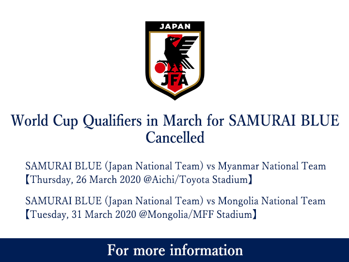 World Cup Qualifiers in March for SAMURAI BLUE Cancelled